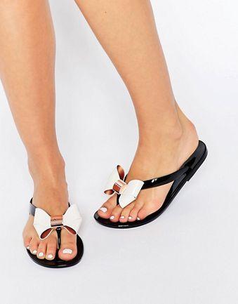 ace42faf7 Ted Baker Ettiea Black Cream Bow Jelly Flip Flops