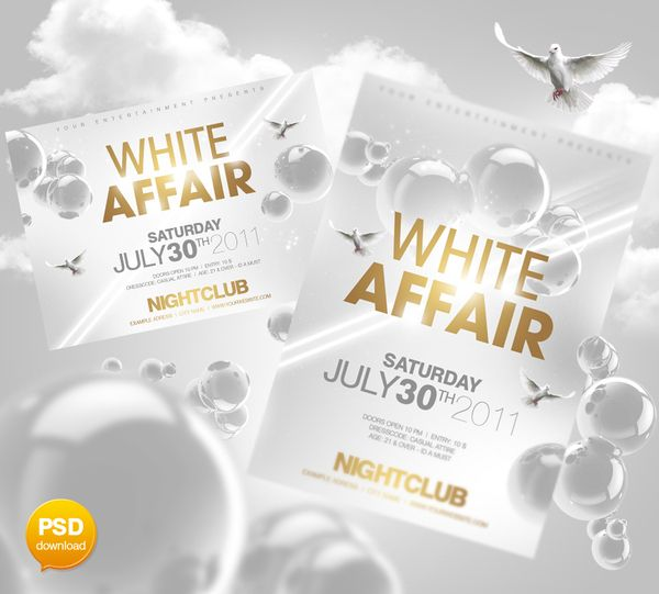 White Affair Party Flyer Template by Party Flyer, via Behance - birthday flyers template