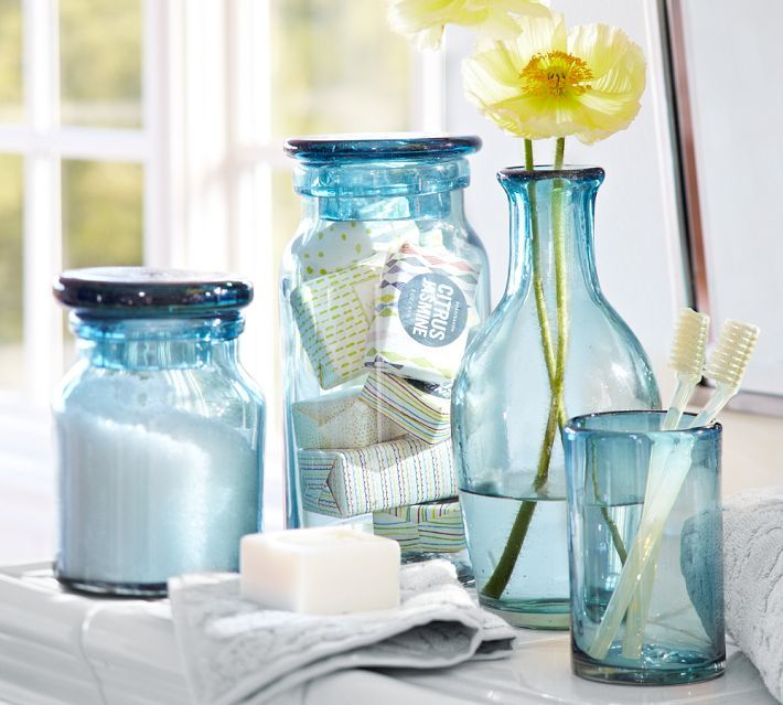 blue glass bathroom accessories. Blue Glass tons of great jar ideas at this Inspire Me Monday  195 Jar and Bath accessories