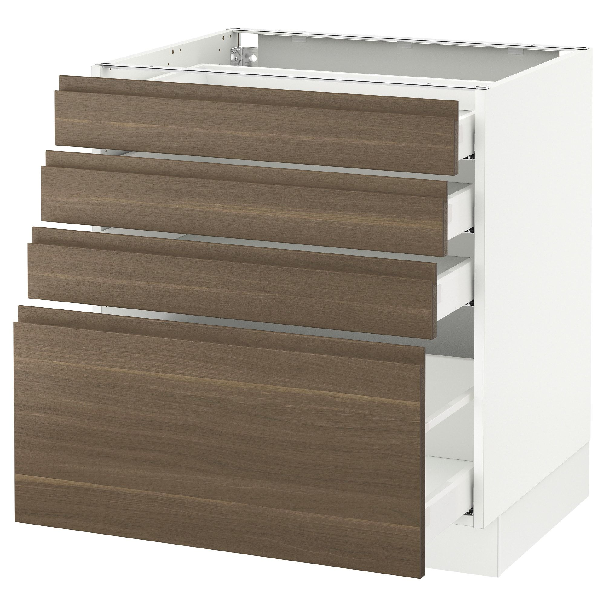 Base Cabinet With 4 Drawers White Maximera Voxtorp Walnut 30x24x30 Base Cabinets Ikea Drawers