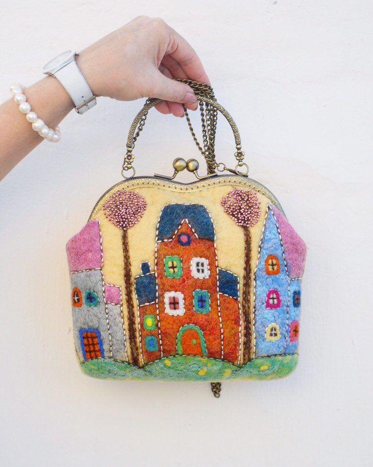 Christmas gift felted bag with clasp wool art bag kiss