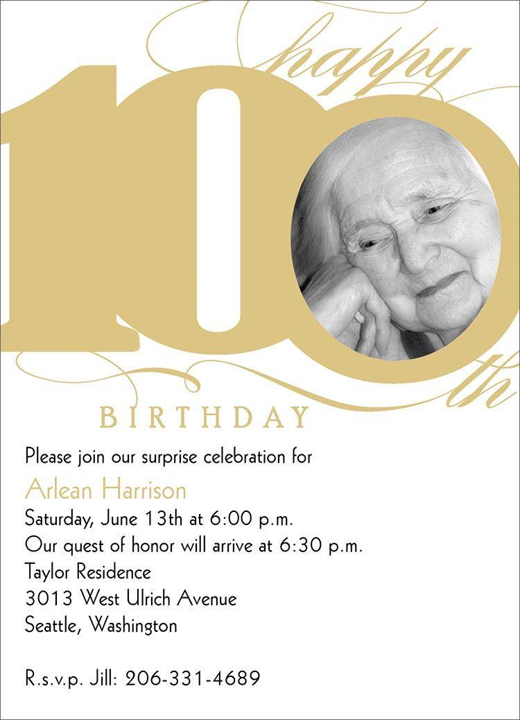 100th Milestone Birthday 100th Birthday Party Birthday Party Invitations Birthday Invitation Templates