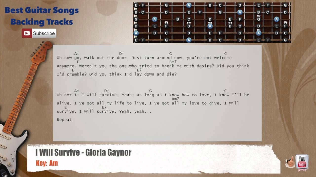I Will Survive Gloria Gaynor Guitar Backing Track With Scale
