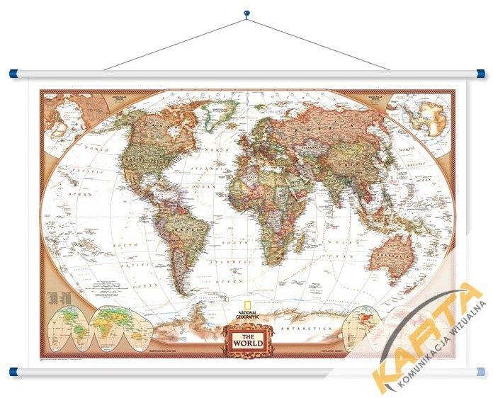 Mapa ścienna Świata polityczna ekskluzywna 1:36 mln. 123x78 - mapa.com.pl - Mapy ścienne Polski Europy Świata, mapy magnetyczne, mapy do wpi...