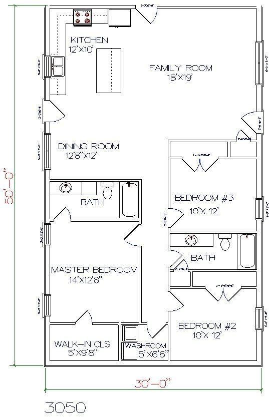 30x50 Open Concept Barndominium Floor Plan