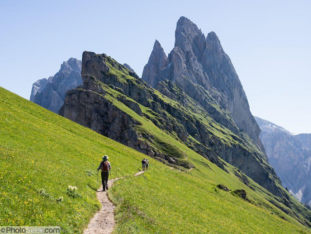 Sharp spires of the Geisler/Odle Group soar above a hiker ...