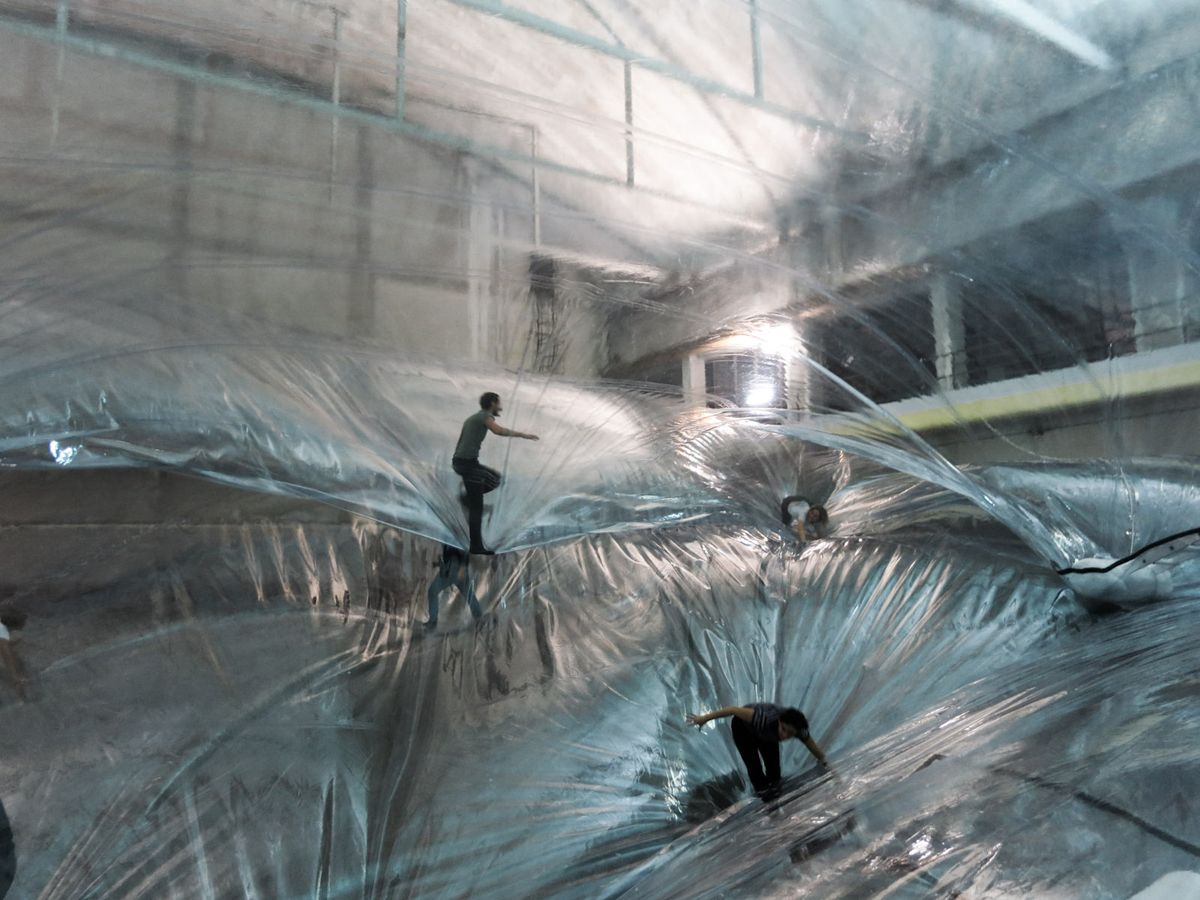 The transparent 'bouncy castle' art installation that makes adults feel  like they're walking on air | Playground, Art installation a…