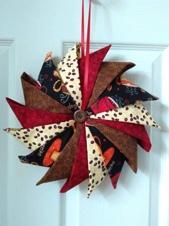 Photo of Folded Fabric Wreath, Coffee Decor, Kitchen Decor, Door Wreath, Wall Hanging, #FFW1720coffee, Prairie Point Wreath
