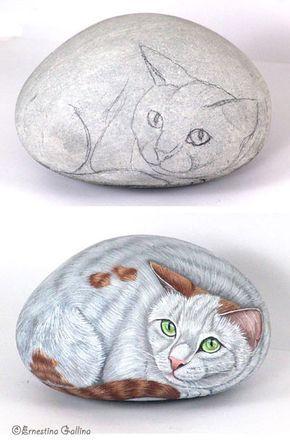 a demonstration for painting rocks painted rocks pinterest galets galets. Black Bedroom Furniture Sets. Home Design Ideas