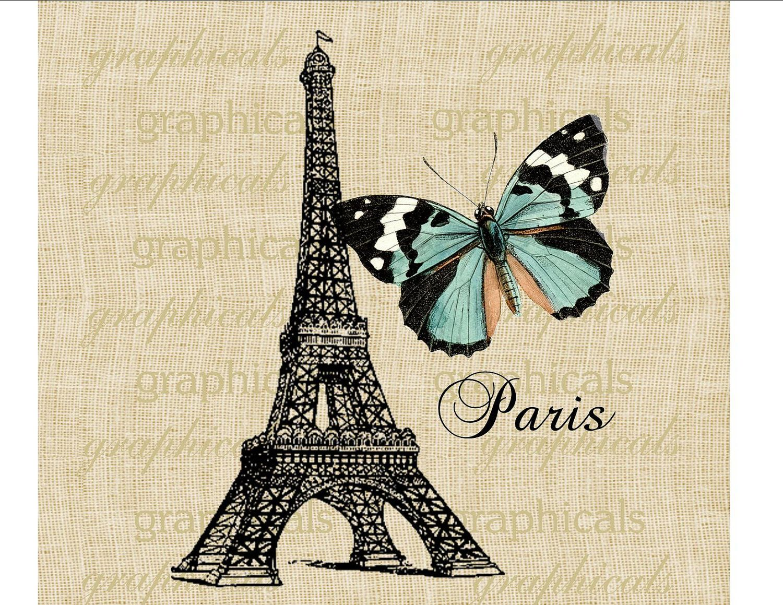 Paris Vintage Eiffel Tower Teal Butterfly Paris Digital