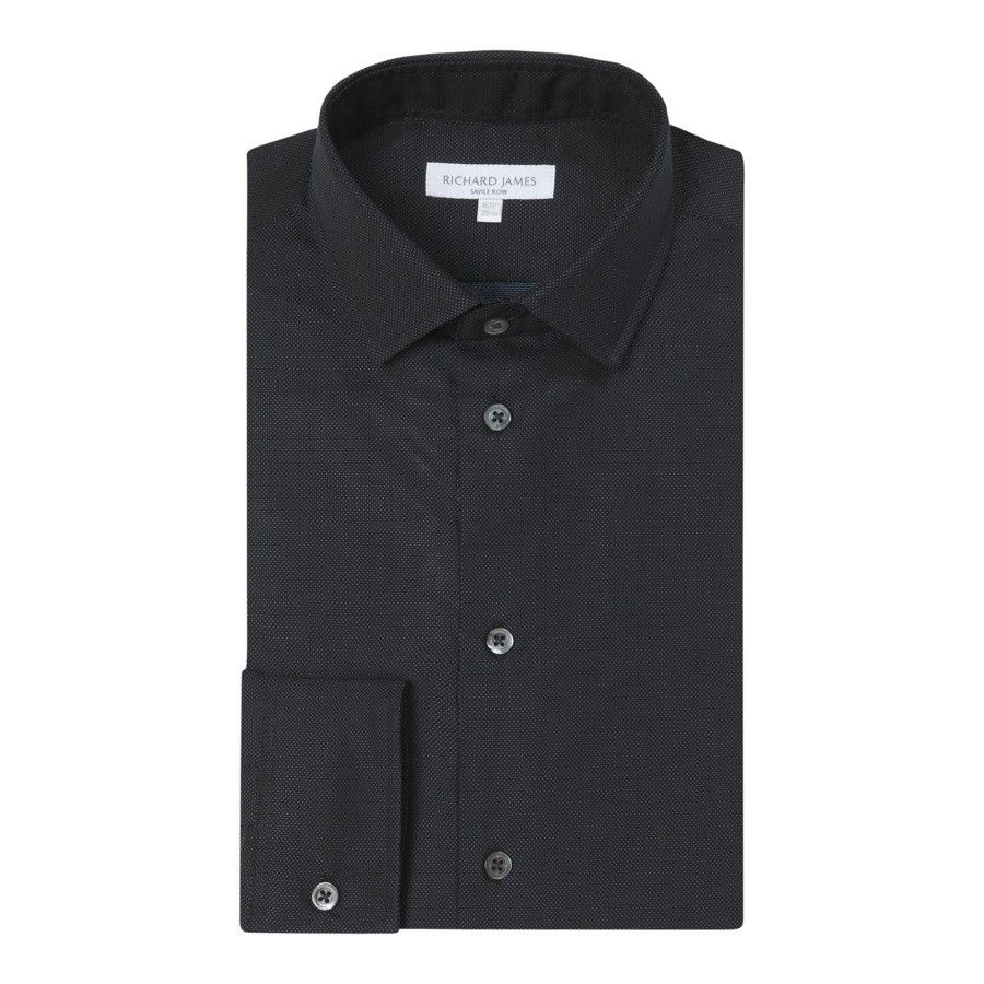 Richard James, Savile Row  CONTEMPORARY FIT BLACK AND TURQUOISE MICRO DOT SHIRT