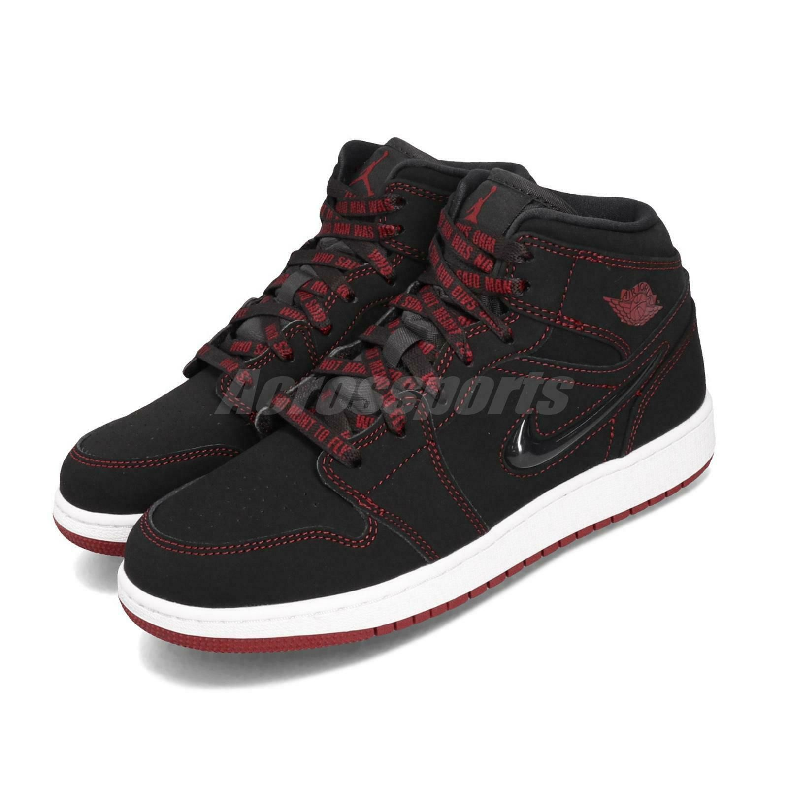 Nike Air Jordan 1 Mid Fearless GS AJ1 Black Red White Kid Women Shoes CU6617-062 $179.99 #jordan #1 #fearless #airjordan1outfitwomen