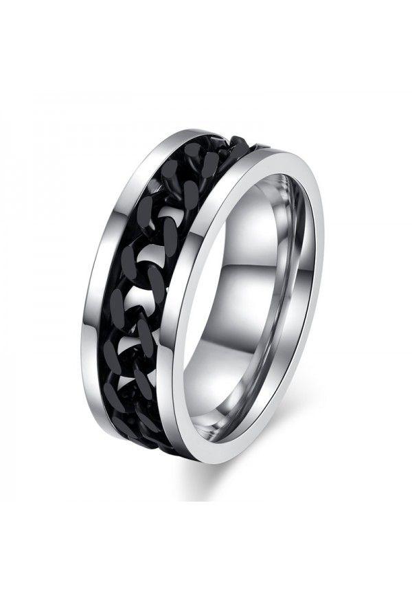 5a1510a97e2f Anillo Punk Rock accesorio de acero inoxidable chain spinner para ...