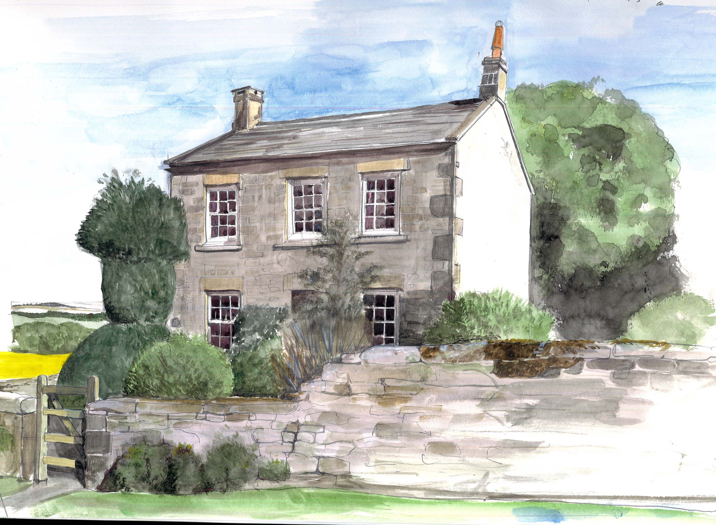 Line Drawing Of Your House : Styles watercolour sketch line illustration diy projects