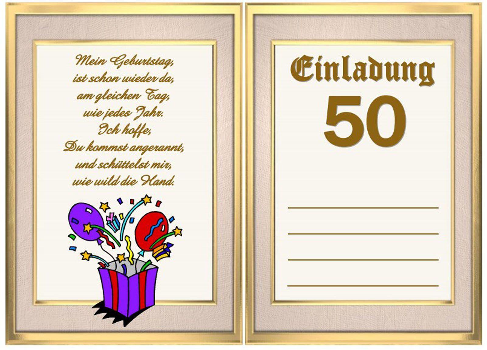 Einladungskarten geburtstag 50 vorlagen