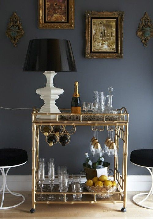 Amazing Vignette With Gold Faux Bamboo Society Social Sedgewick Bar Cart White Lamp Glossy Black Shade Blue Walls Paint Color Rococo Frames And