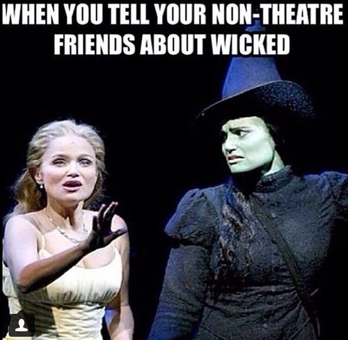 This is so funny! Wicked is a broadway musical about the 3 witches of Oz and their friendship, set before The Wizard of Oz. This is Kristin Chenoweth as Glinda and Idina Menzel as Elphaba (her expression is great!).