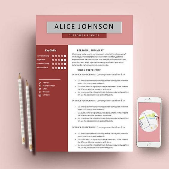 Modern Editable CV\/Resume Template Job Application Template ETSY - job application template