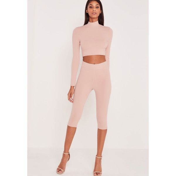 Missguided Carli Bybel Cropped Leggings Pink ($19) ❤ liked on Polyvore featuring rose