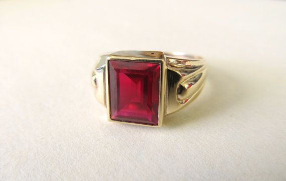 Mens Art Deco Ring Vintage Ruby Ring 10k By Fergusonsfinejewelry Ruby Ring Vintage Deco Jewelry Art Deco Ring