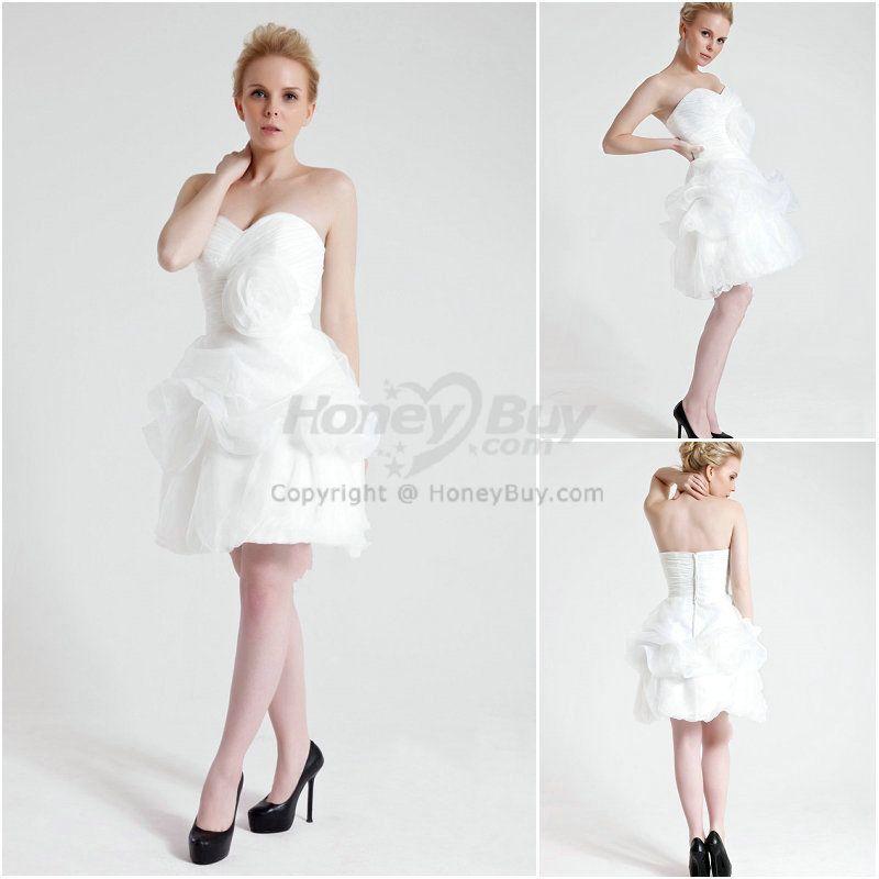 Sweetheart Flower White Modest Short Prom Dresses