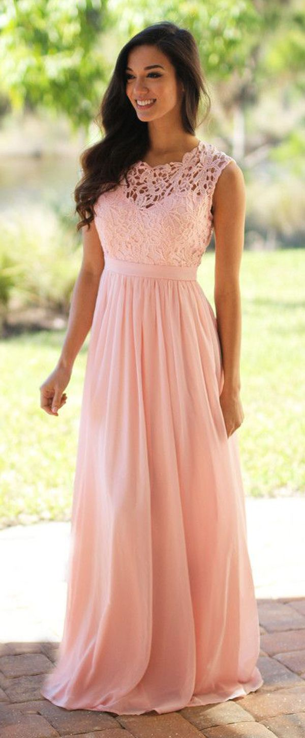 Sweet chiffon u lace jewel neckline aline prom dresses with belt