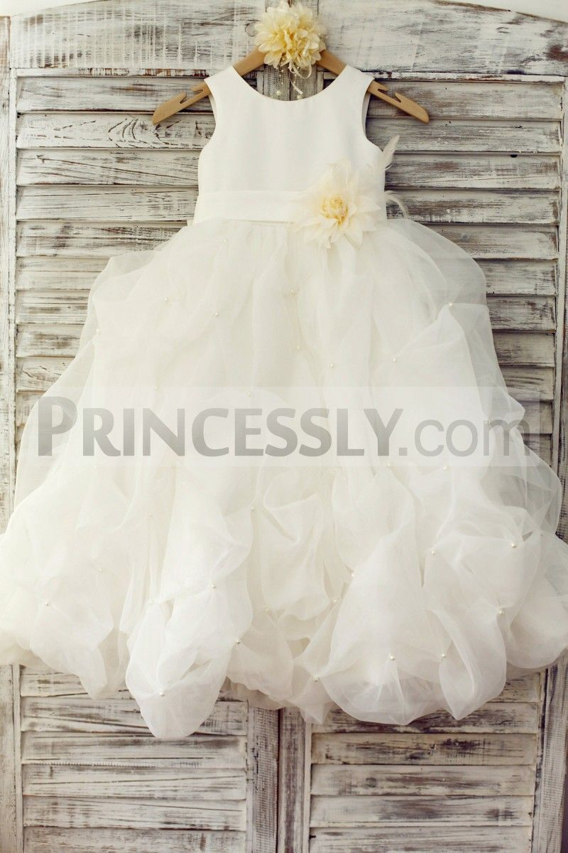 Ivory satin organza ruffle ball gown princess flower girl dress with
