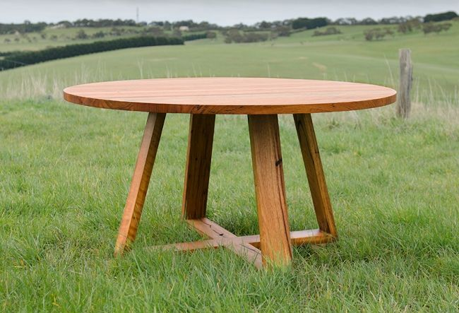 Round dining table with crossed legsRecycled Messmate Timber