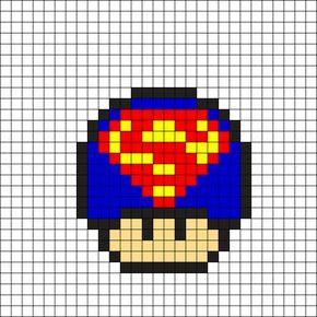 Superman Mushroom Perler Bead Pattern 16x16 Perlerhama