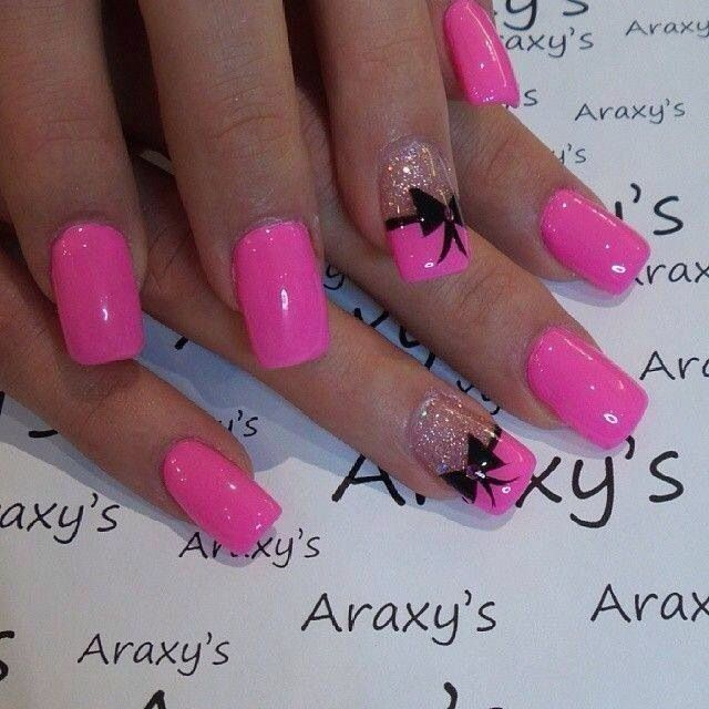 Pretty pink with bow | Bow nail designs, Bow nail art ...