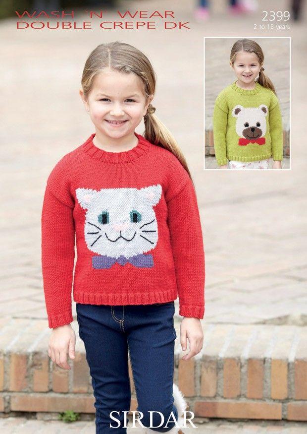 Cat & Bear Sweaters In Sirdar Wash \'N\' Wear Double Crepe DK (2399 ...