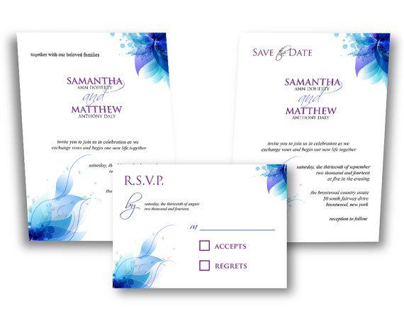 Blue Orchid Wedding Invitations: Printable DIY WEDDING INVITATION Blue Purple By