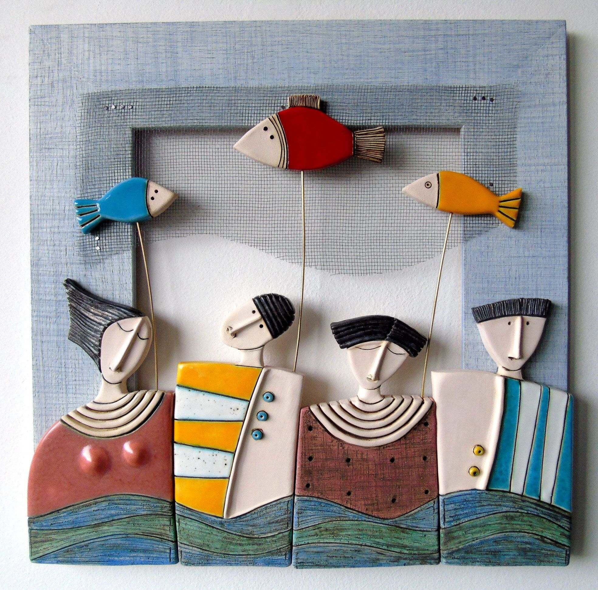 Fishing-Ceramic art ,Ceramic sculpture,Handmade ceramics,Wall art ceramics,Hanging on a wall -   - #Art #ceramic #ceramicart #ceramicpottery #ceramics #ceramicsHanging #ceramicsWall #fishing #FishingCeramic #handmade #handmadeceramics #sculpture #sculptureHandmade #wall
