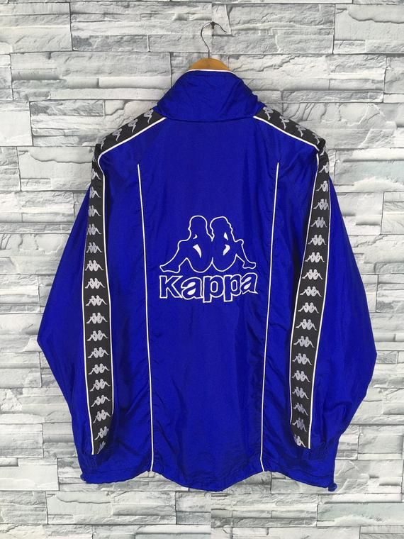 ffac129385 KAPPA SPORT Windbreaker Jacket Medium Vintage 90's Kappa Big Logo Track Top  Kappa Blue Sportswear Ka