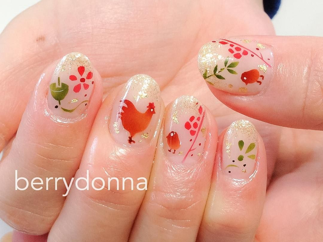 Pin by J Y on nail art 2017 rooster chicken zodiac CNY 新年 ...