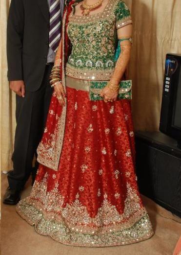 bridal lehenga red green combination Google Search