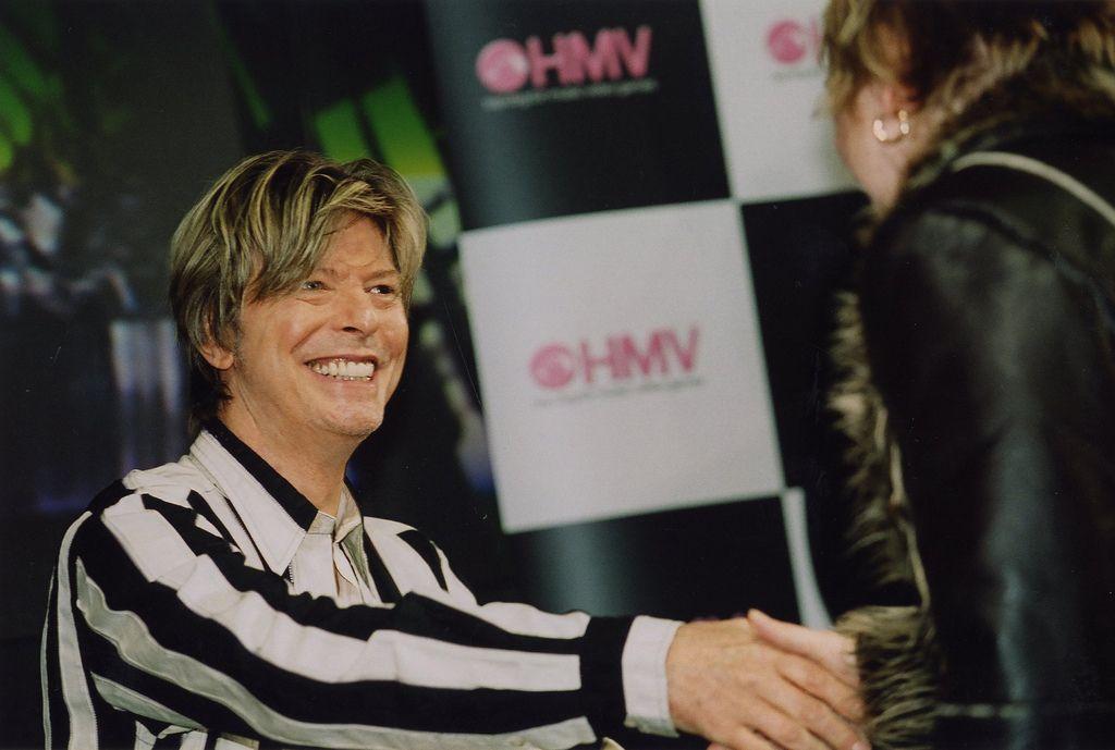 David Bowie signing at hmv 150 Oxford Street, London, 2002