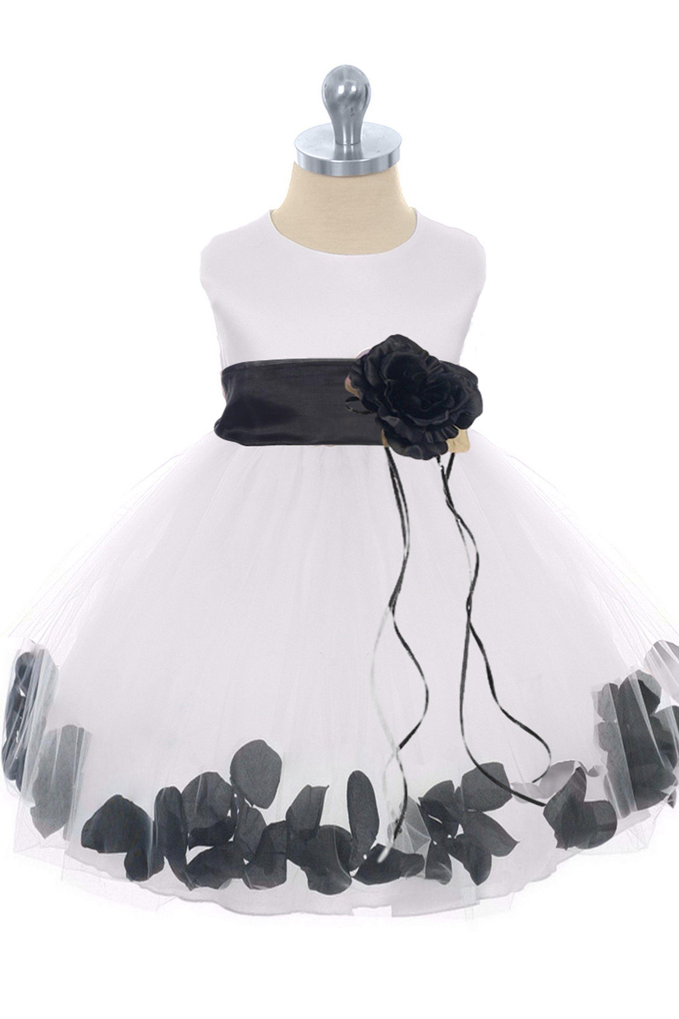14d397aad4 Black Flower Girls Satin   Tulle Petal Dress w. Organza Sash 3m-24m ...