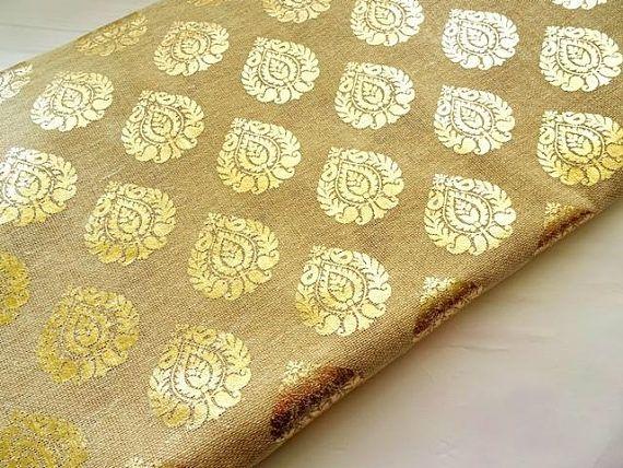 Natural Tan Color Burlap With Gold Print Golden Printed Jute Fabric Half Yard