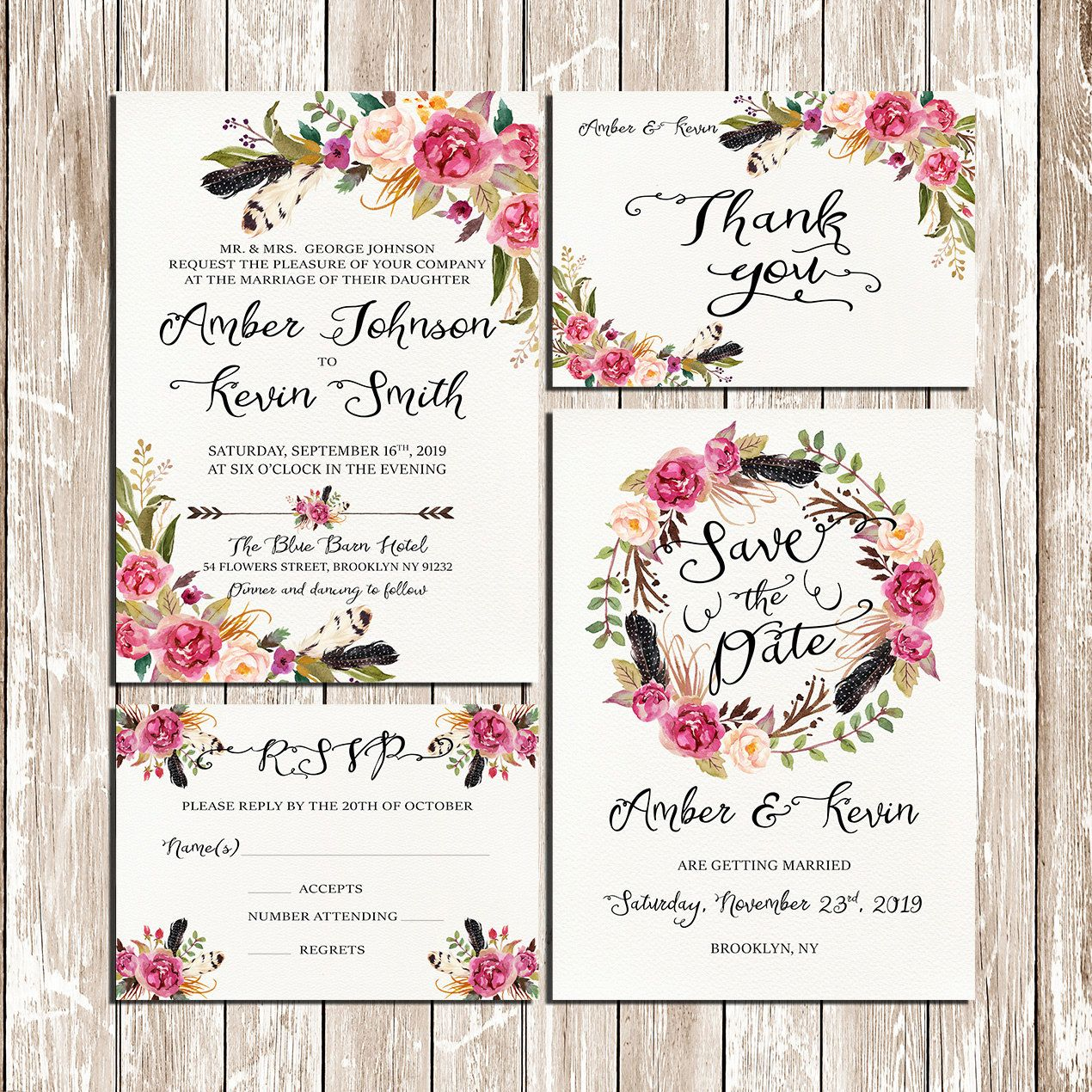 Flowers And Feathers Bohemian Floral Wreath Wedding Invitation Kit Pink  Floral Rustic Boho Watercolor Set/Suite Printable Digital Files