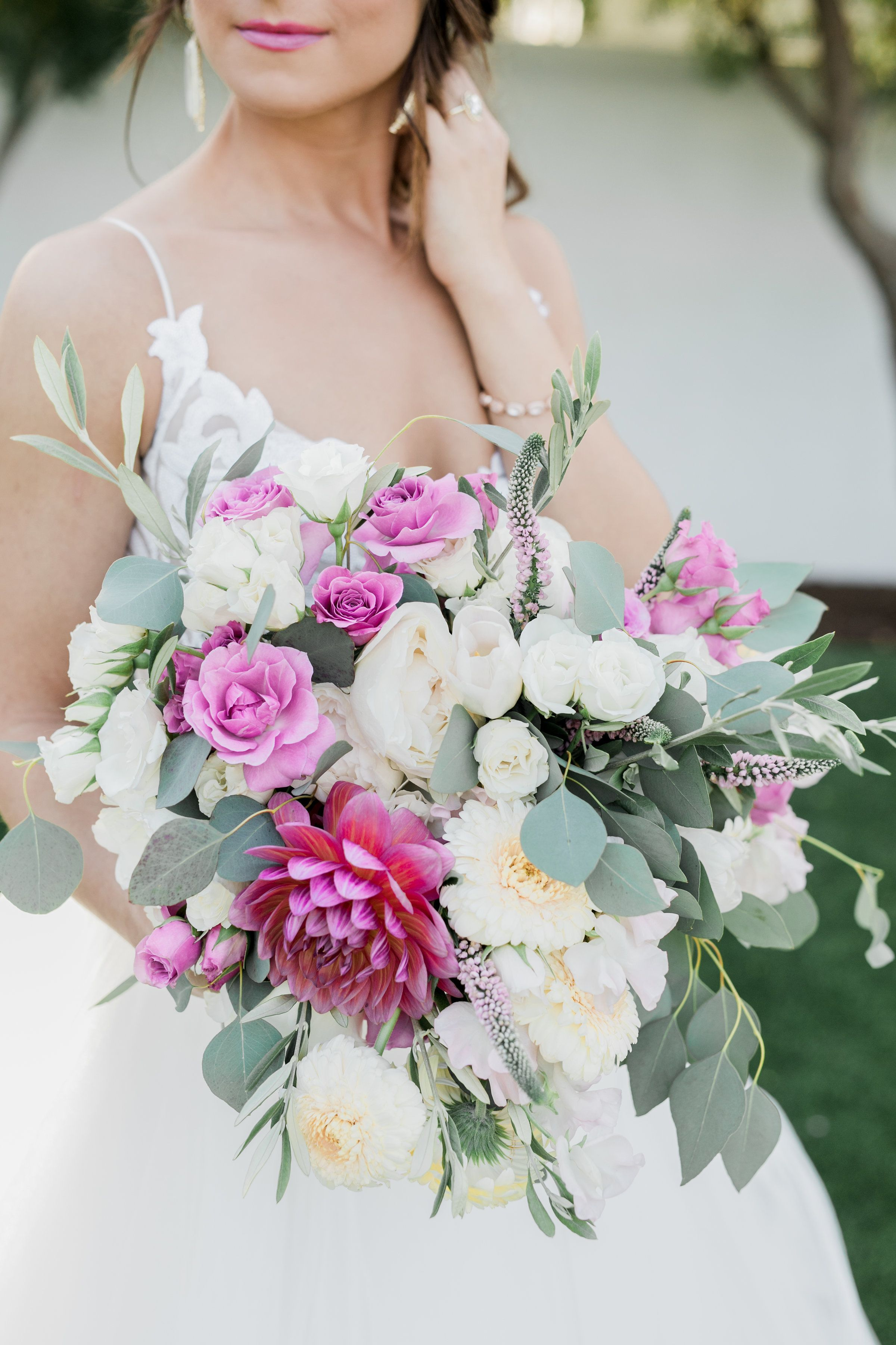Valentine S Inspired Bridal Bouquet Mauve Roses Pink Dahlia