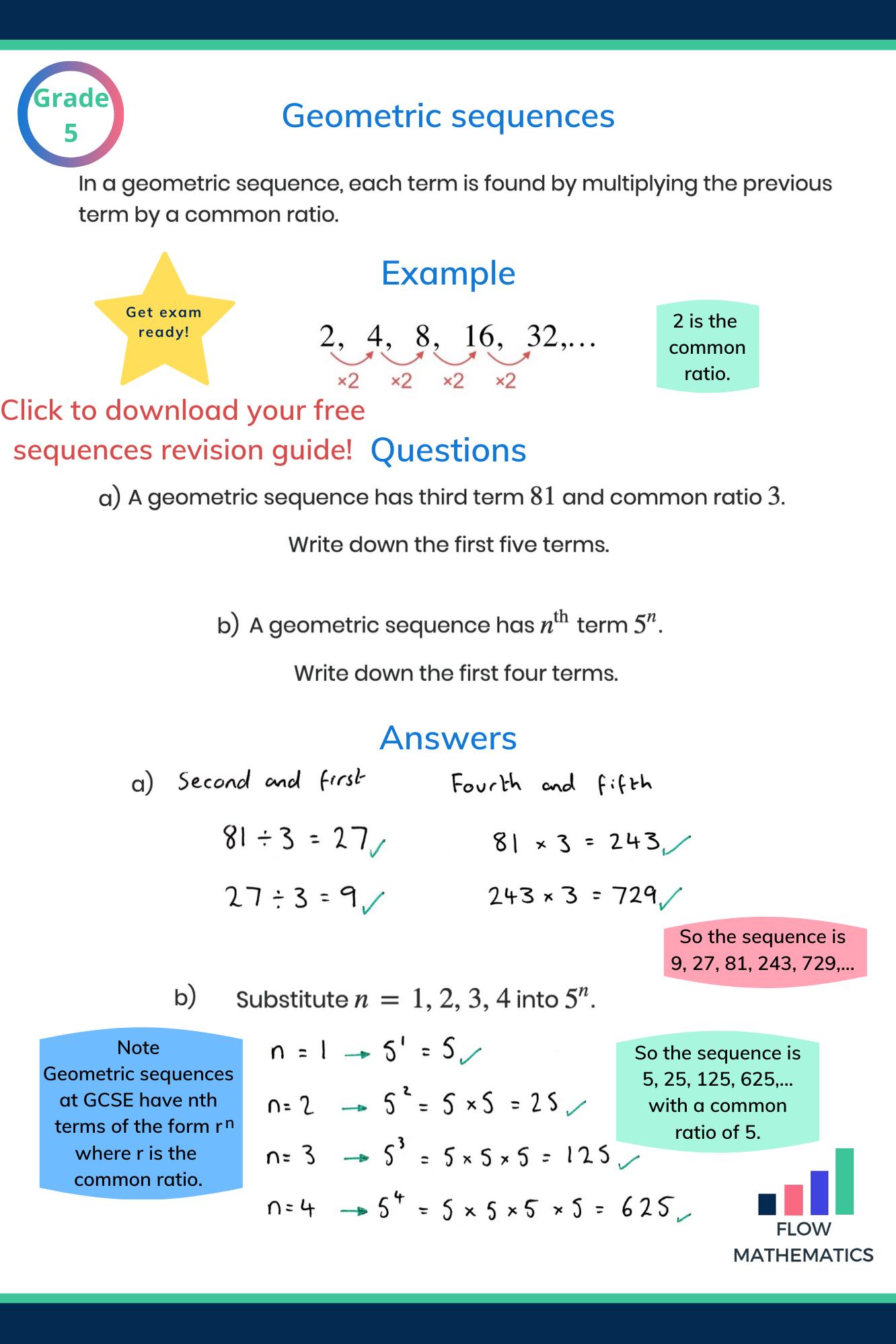 Geometric Sequences Worksheet Gcse