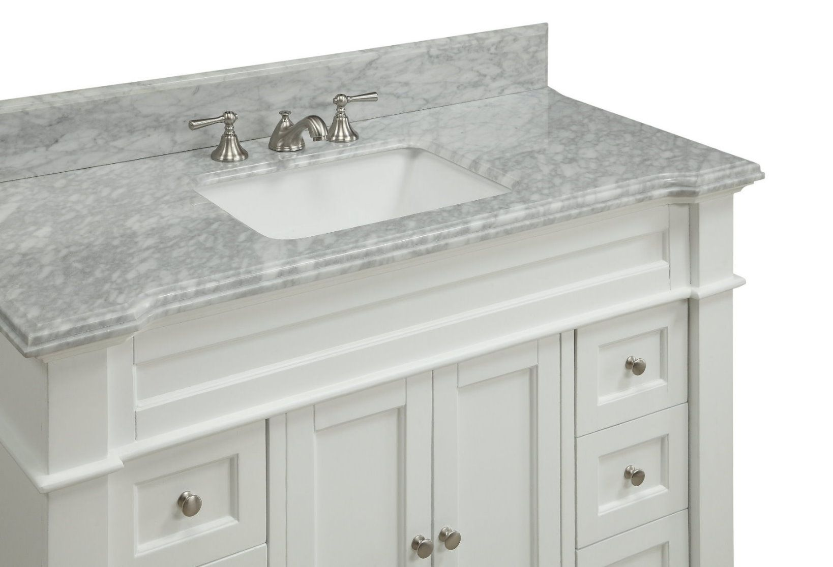 48 Inch Adelina Bathroom Vanity White Finish Carrara Marble Top