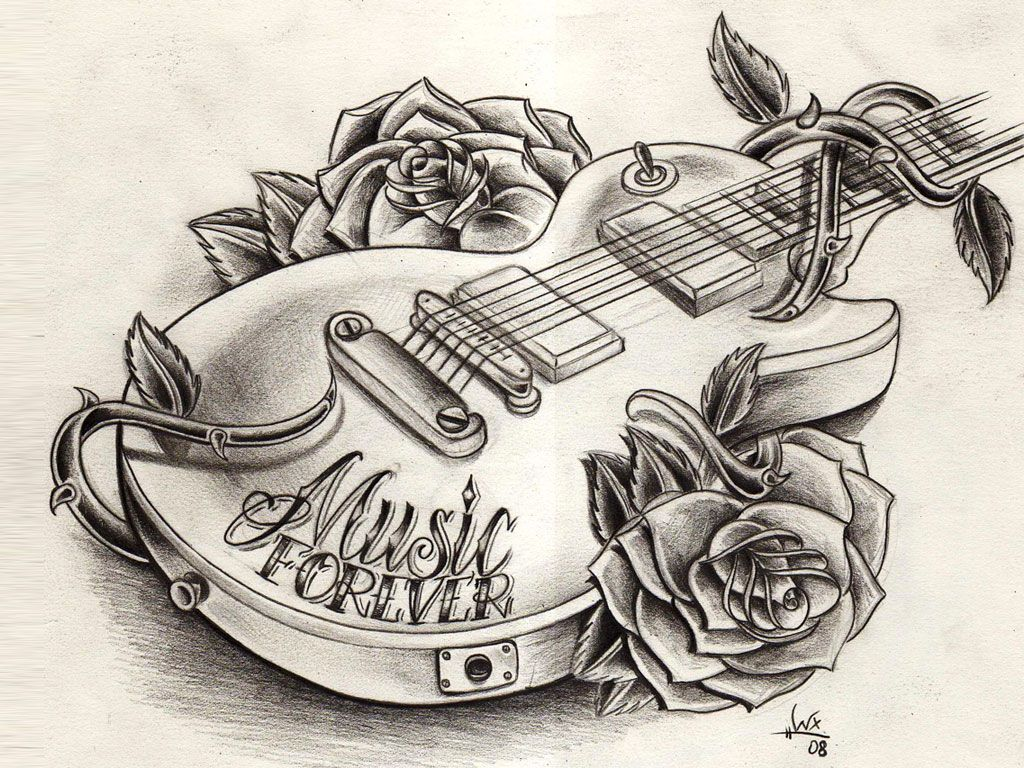 Guitar tattoo are for men and girls and all music fans around the world Guitar with flower  Guitar on Fire Guitar with roses tattoo Guitar i...