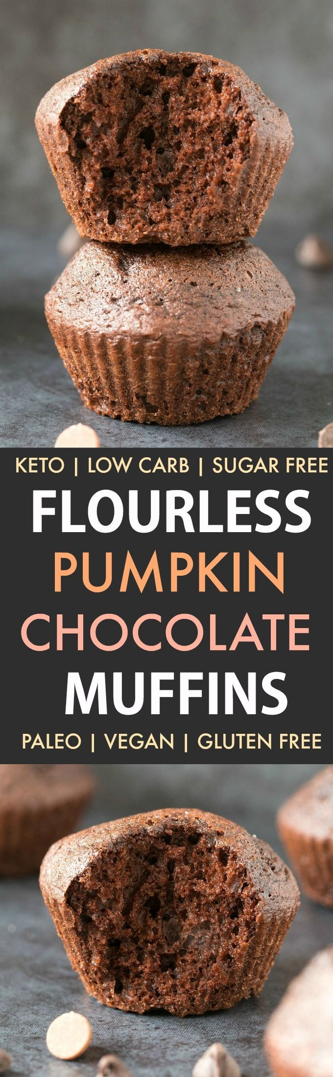 Flourless Pumpkin Chocolate Muffins (Paleo, Vegan, Keto, Sugar Free)- An easy one-bowl recipe for flourless chocolate muffins with pumpkin- Made with no flour, no oil and no butter, moist and gooey on the inside and tender on the outside! Freezer-friendly too! | Recipe on