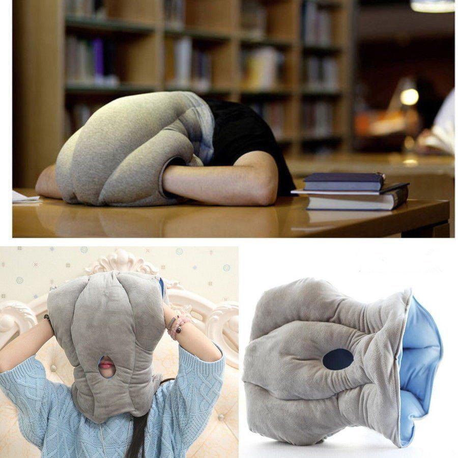 blue soft cotton travel pillow guard