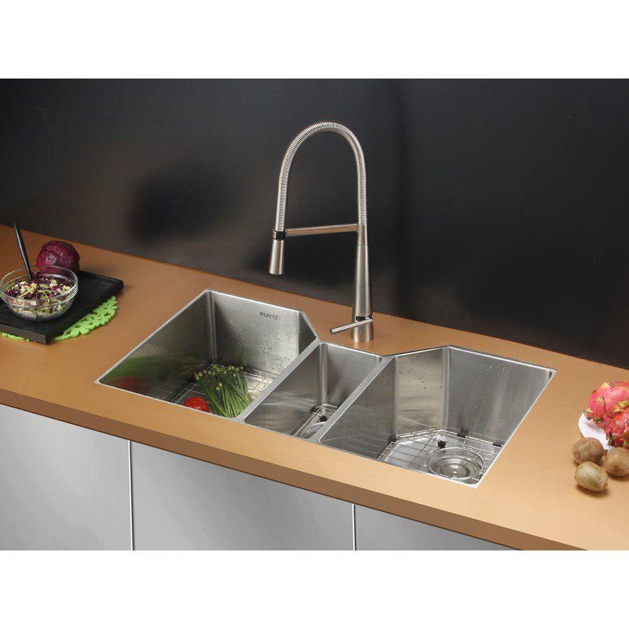 Gravena 35 X 19 5 Undermount Triple Bowl Kitchen Sink Best Kitchen Sinks Stainless Steel Kitchen Sink Sink