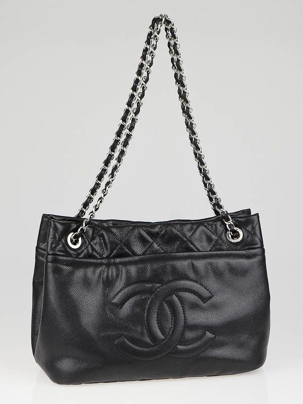 c8809d48f845 Chanel Black Washed Caviar Leather Timeless CC Soft Shopping Tote Bag