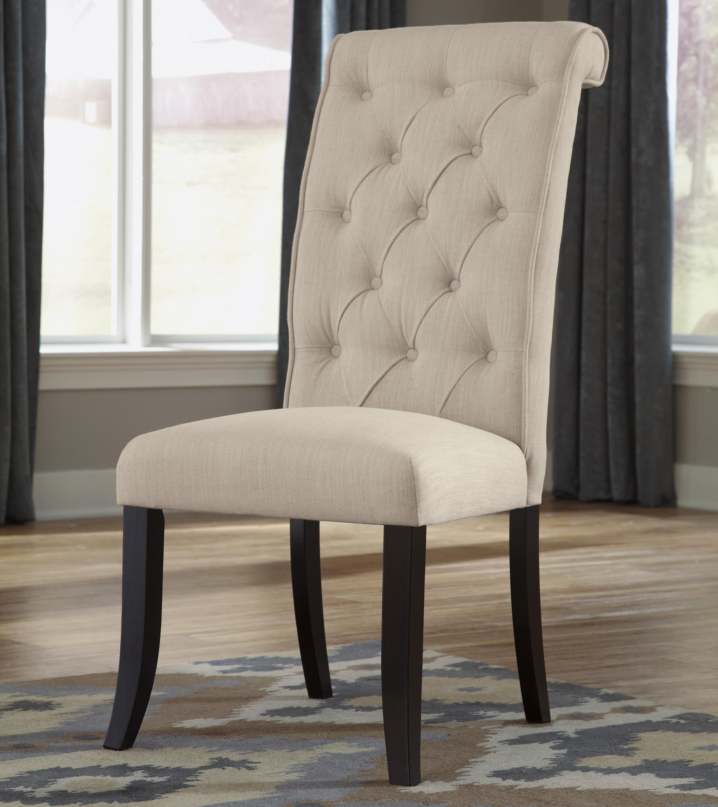 Tripton Dining Upholstered Side Chair With Button Tufting And Roll Back Design By Signature Design By Ashley At Godby Home Furnishings Dining Upholstery Linen Dining Chairs Side Chairs Dining