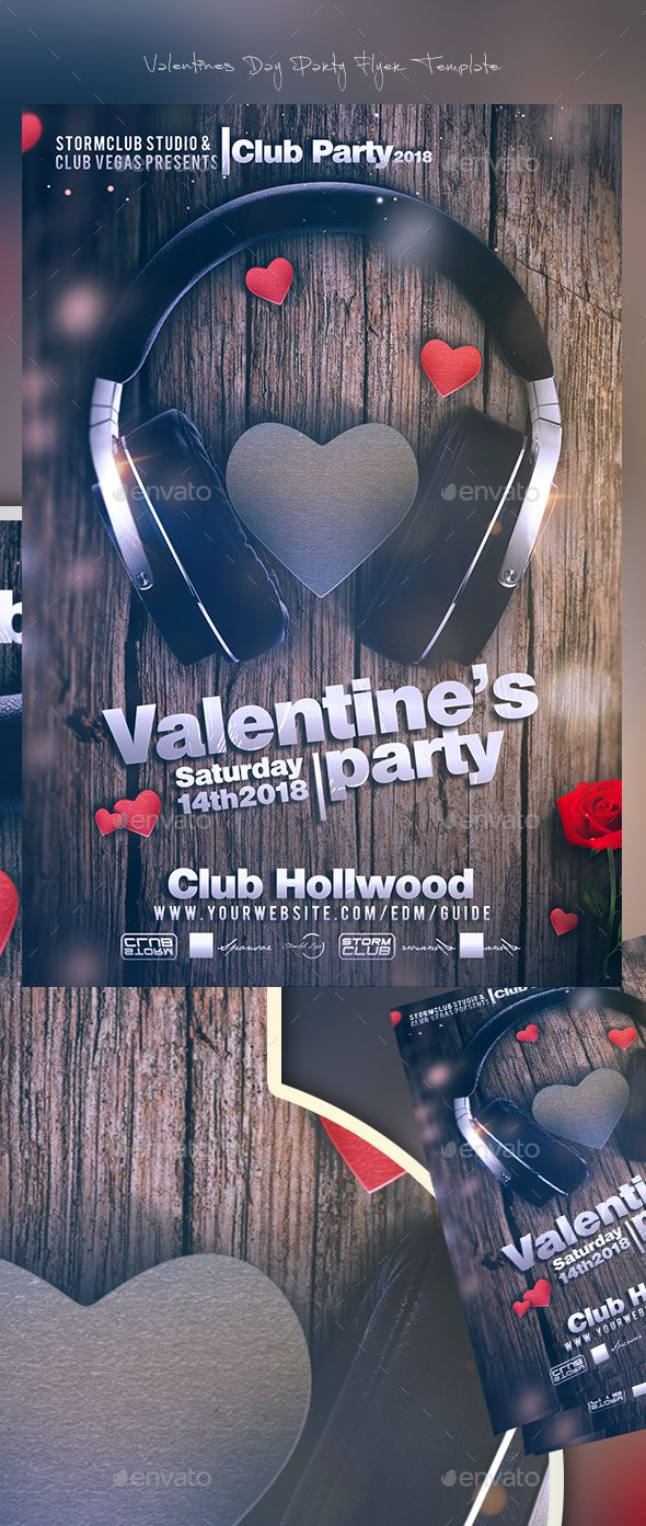 Valentines Day Party Flyer Template | Party flyer, Flyer template ...